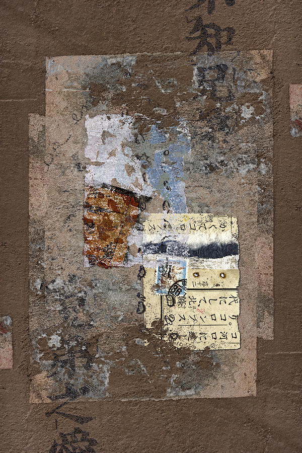 Torn Photograph - Torn Papers On Wall by Carol Leigh