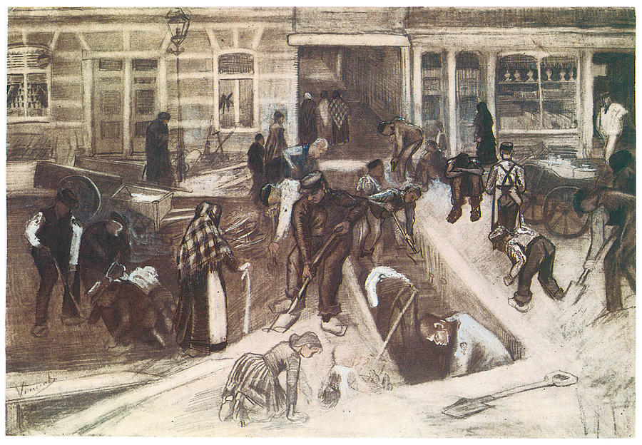 Drawing Drawing - Torn-up Street With Diggers by Vincent van Gogh