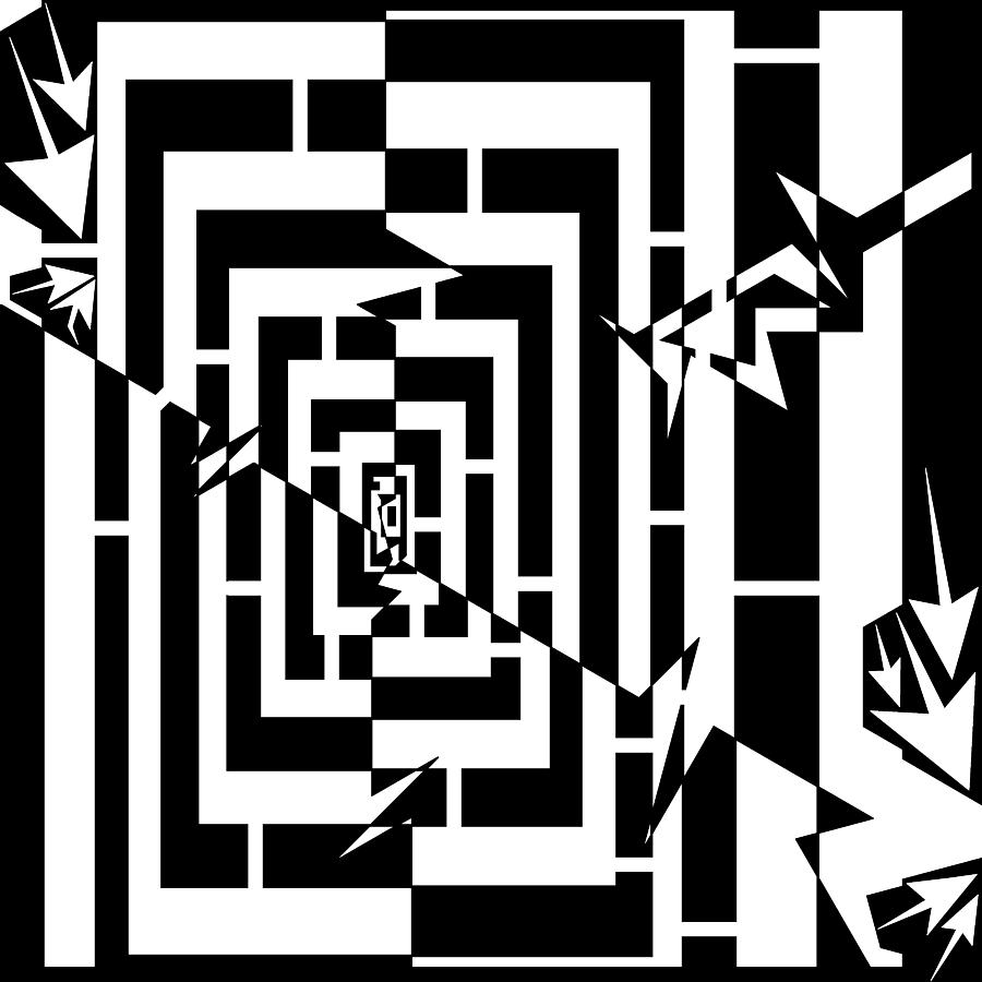 Spin Drawing - Torn Worm Hole Maze  by Yonatan Frimer Maze Artist
