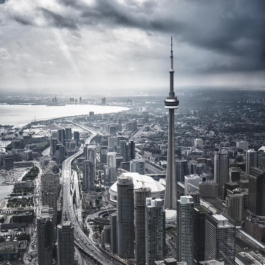 Toronto Aerial View During A Storm Photograph by Franckreporter