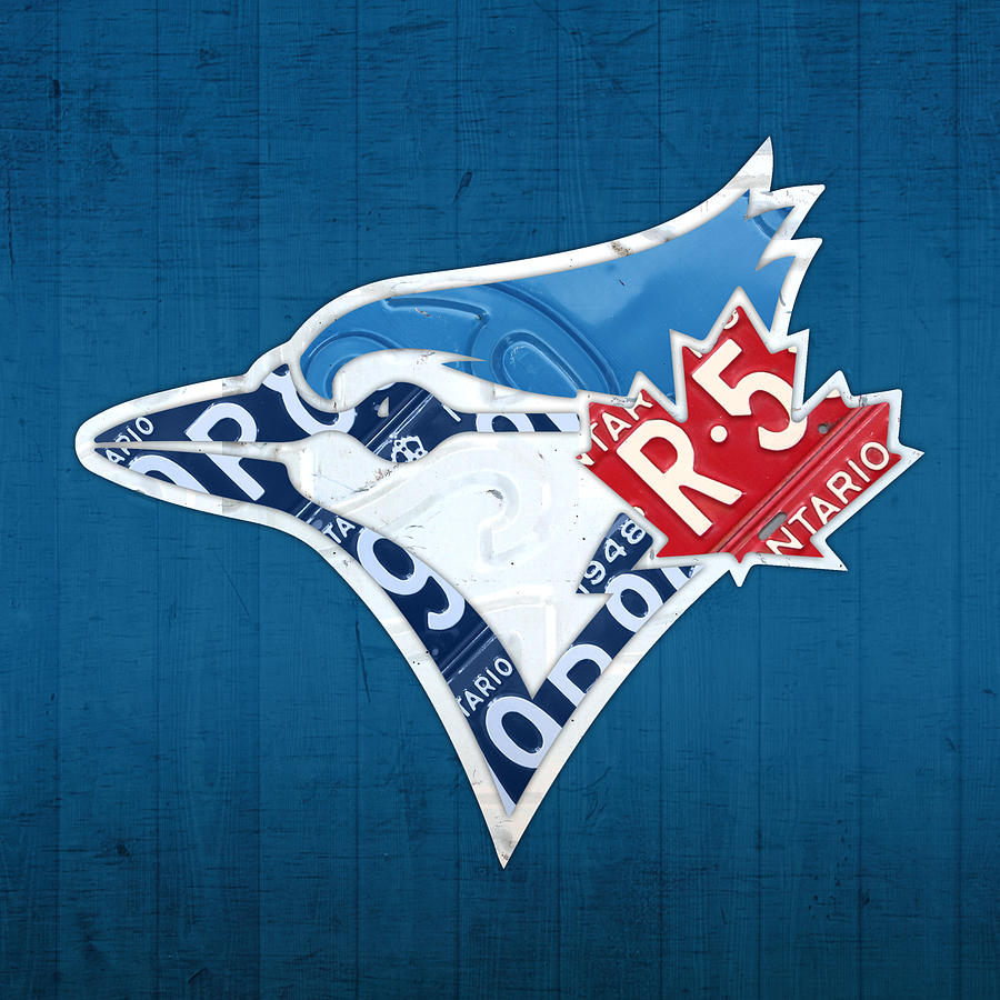 Toronto Blue Jays Mixed Media - Toronto Blue Jays Baseball Team Vintage Logo Recycled Ontario License Plate Art by Design Turnpike