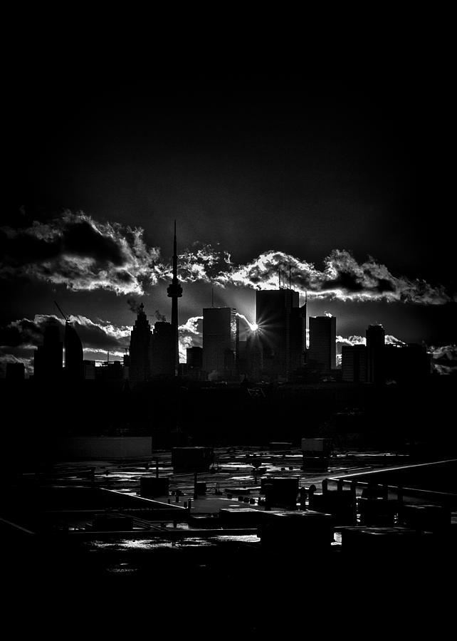 Toronto Photograph - Toronto Canada Skyline At Sunset From The Pape St Bridge by Brian Carson