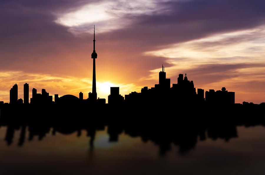 Toronto Skyline Photograph - Toronto Canada Sunset Skyline  by Aged Pixel