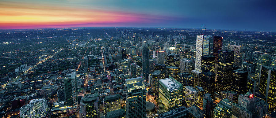 Toronto Downtown City At Night Photograph by D3sign