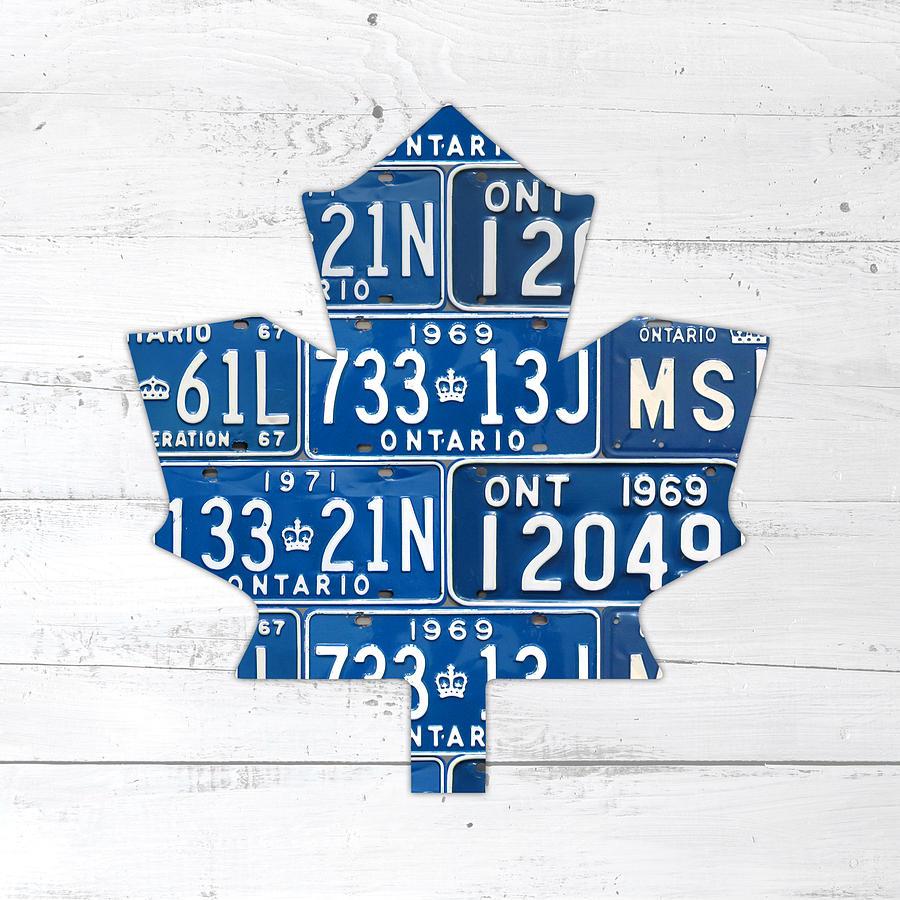Toronto Mixed Media - Toronto Maple Leafs Hockey Team Retro Logo Vintage Recycled Ontario Canada License Plate Art by Design Turnpike