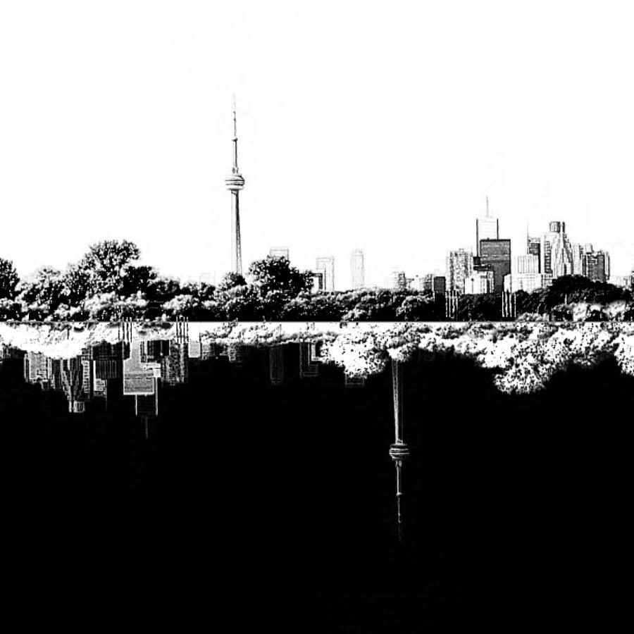 Toronto Reflection Day And Night Digital Art By Natasha Marco