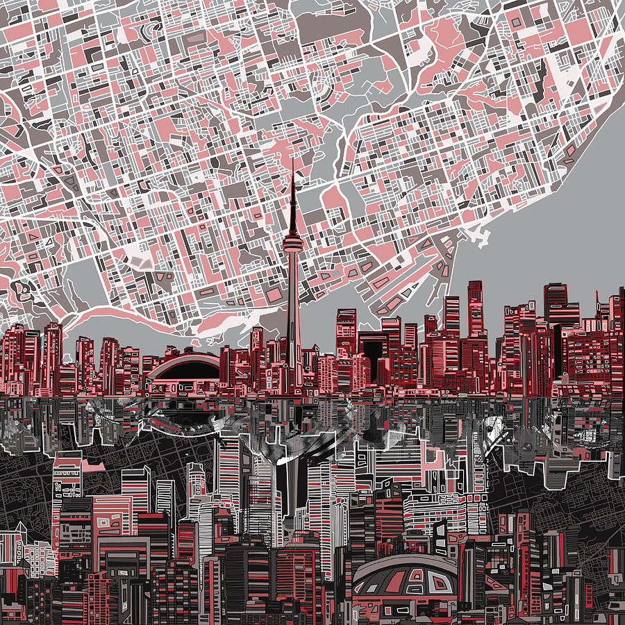 Toronto Skyline Abstract 5 Painting By Bekim Art