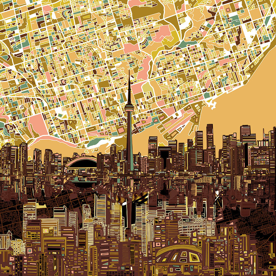 Toronto Skyline Abstract 9 Painting by Bekim Art