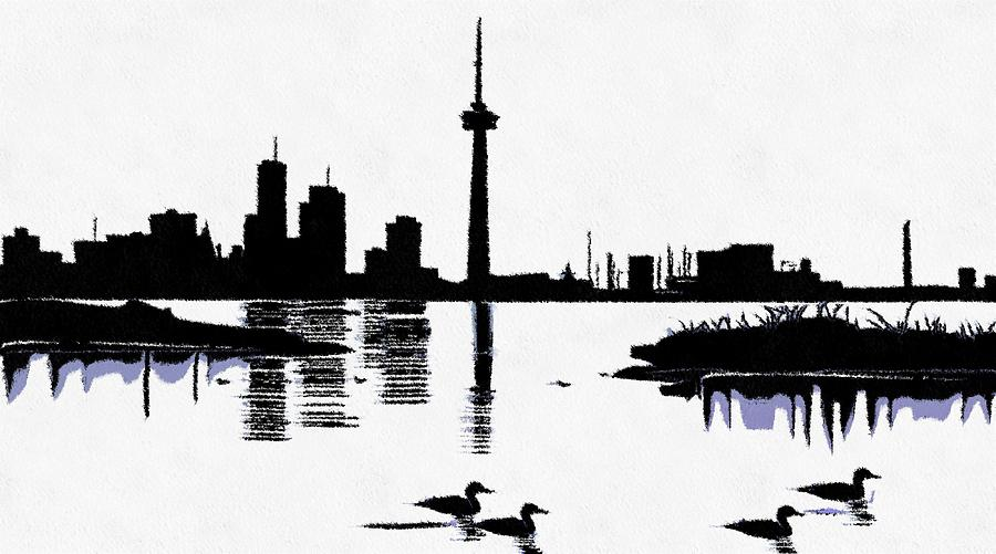 Sumi e digital art toronto skyline in black by mario carini