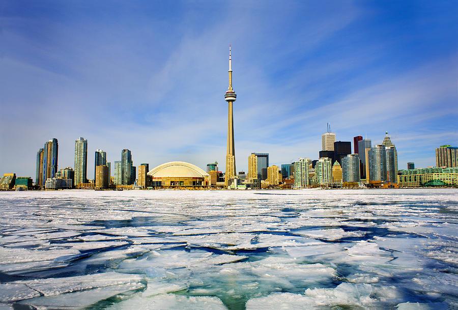 Toronto Skyline In Winter Photograph by Peter Mintz
