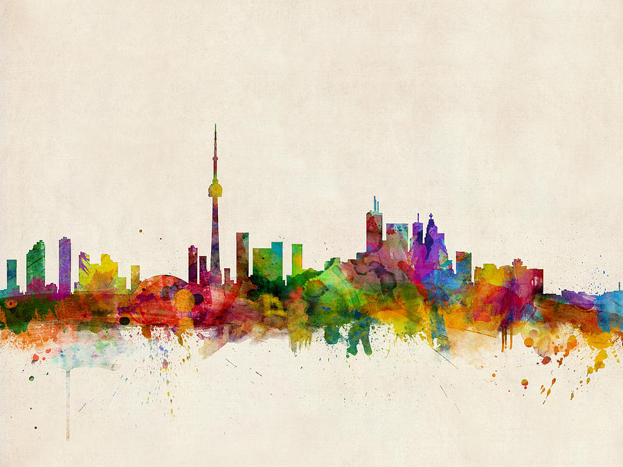 Toronto Digital Art - Toronto Skyline by Michael Tompsett