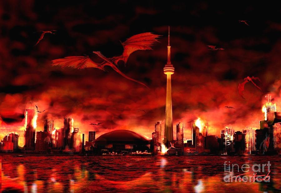Dragon Photograph - Toronto  skyline of Dragons  by Tom Straub