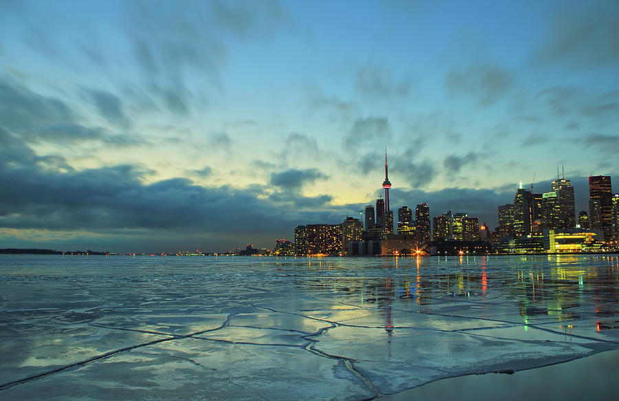 Scenic Photograph - Toronto Winter Evening by Orchidpoet