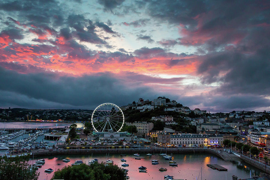 Torquay Marina Sunset Summer Photograph by Rick Bebbington Photography