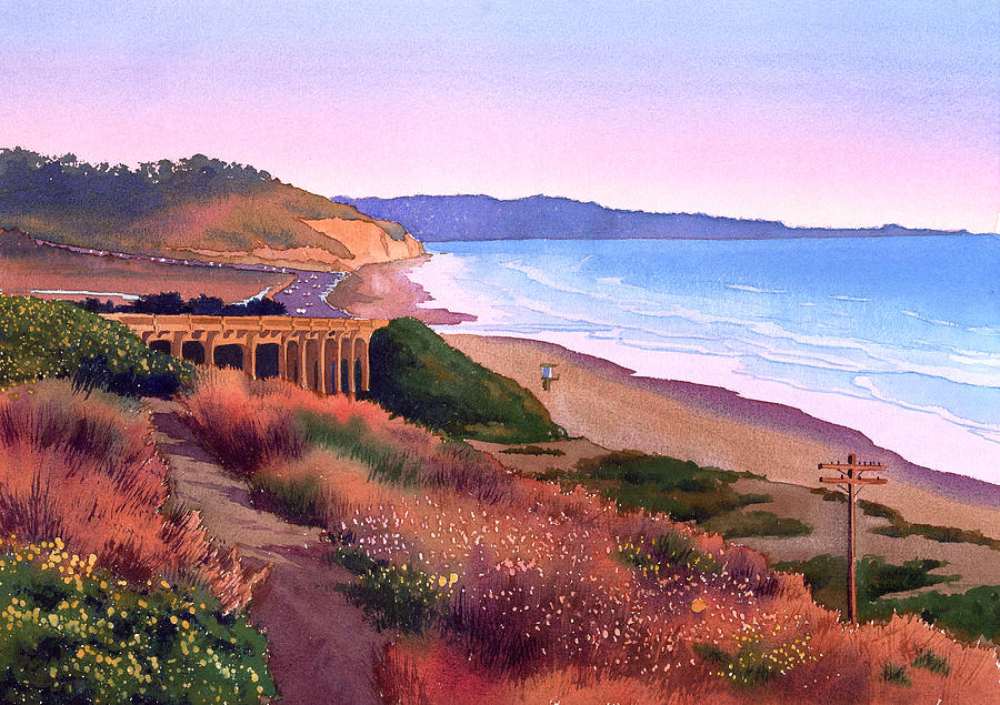 Torrey Pines Painting - Torrey Pines Dusk by Mary Helmreich