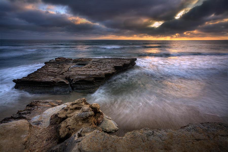 Beach Photograph - Torrey Pines Flat Rock by Peter Tellone