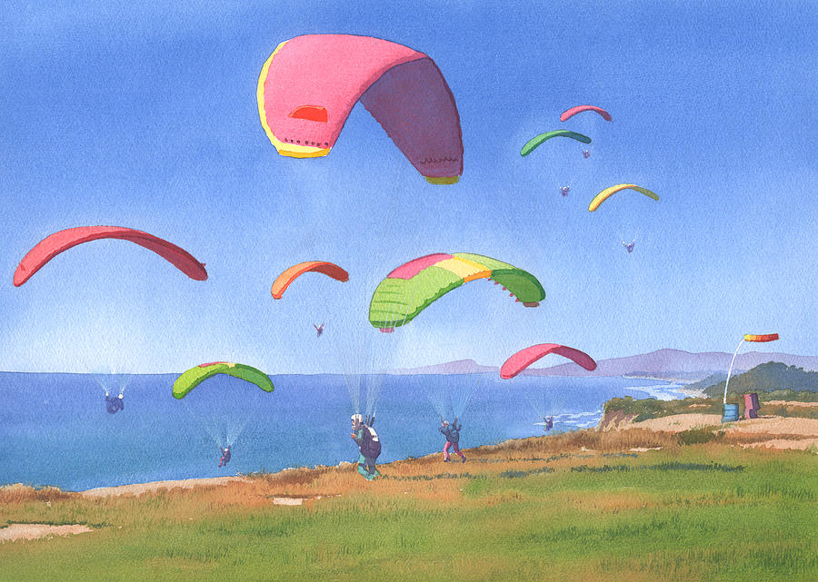 Torrey Pines Painting - Torrey Pines Gliderport by Mary Helmreich