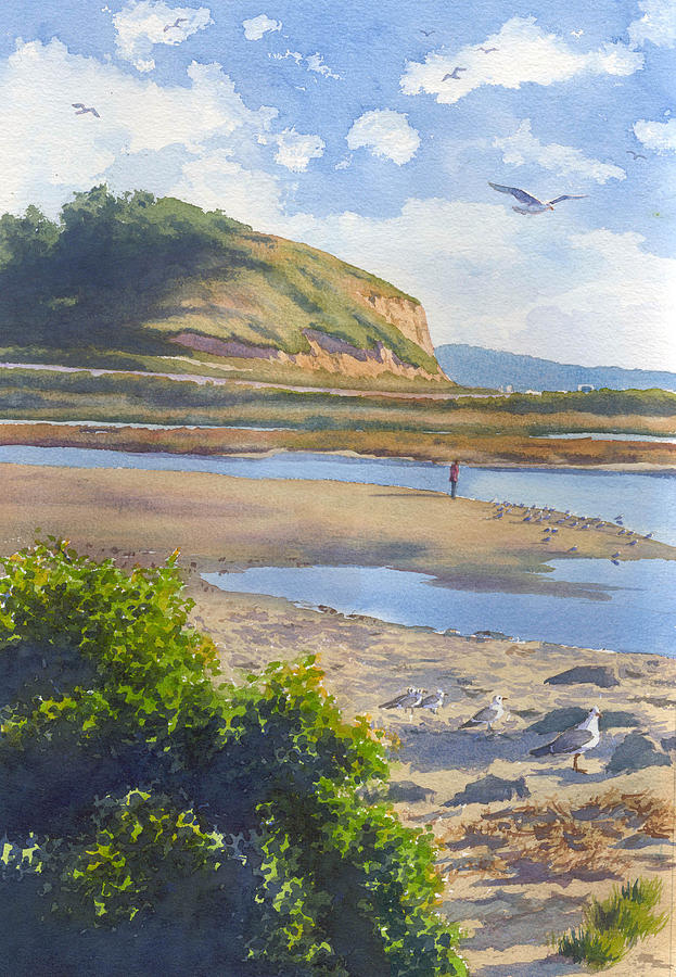 Torrey Pines Painting - Torrey Pines Inlet by Mary Helmreich