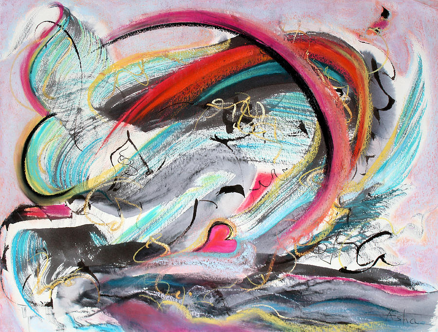 Abstract Painting Painting - Torrid Romance by Asha Carolyn Young
