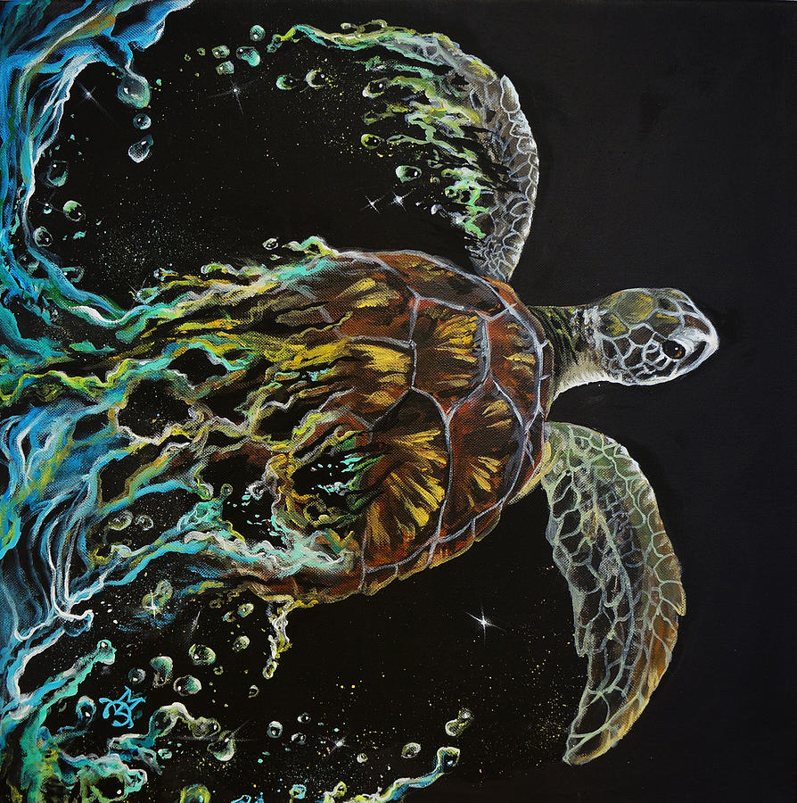 Turtle Painting - Tortuga by Marco Antonio Aguilar