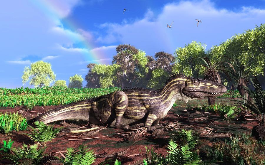 Animals Photograph - Torvosaurus And Rainbow by Walter Myers