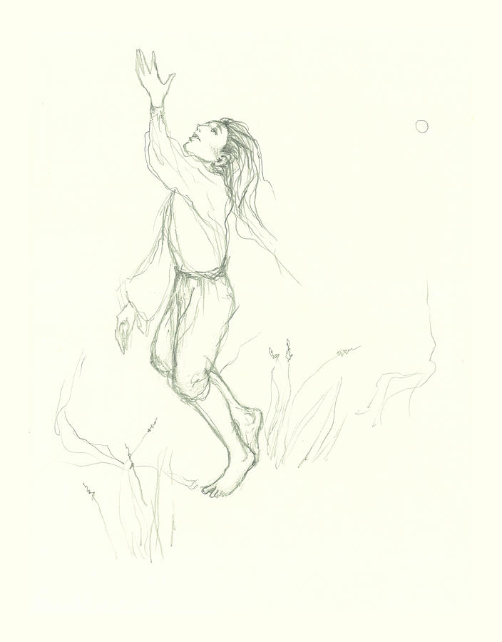 Pencil Sketch Drawing - Tossing the Sun by Lydia Erickson