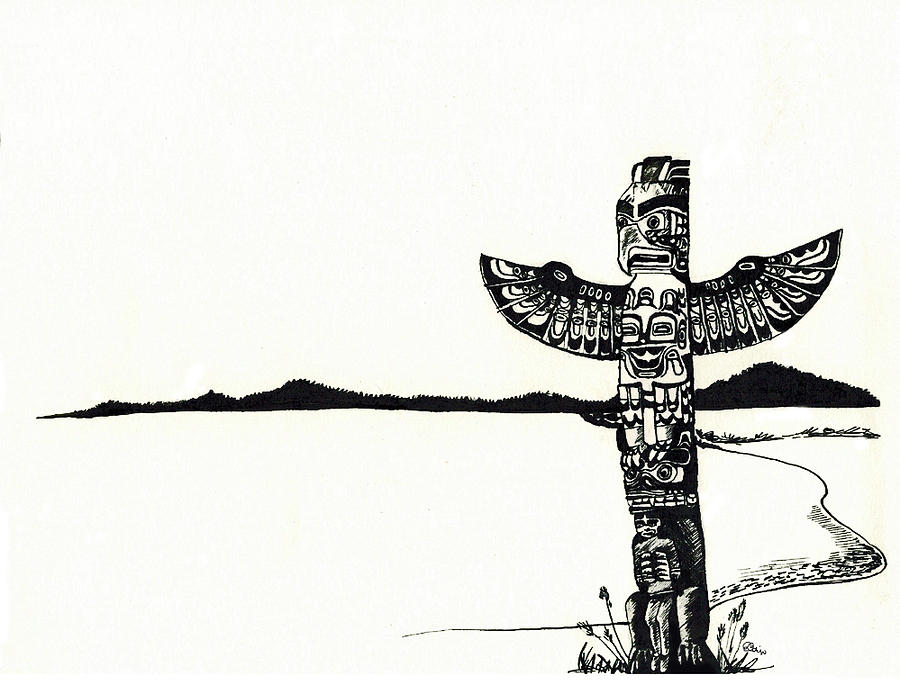 how to draw a totem pole seal