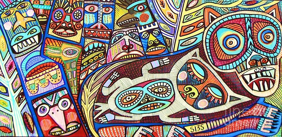 Totem Wolf Mother Spirit Painting by Sandra Silberzweig