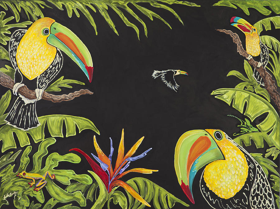 Tropical Painting - Toucan Fun by Nickie Bradley
