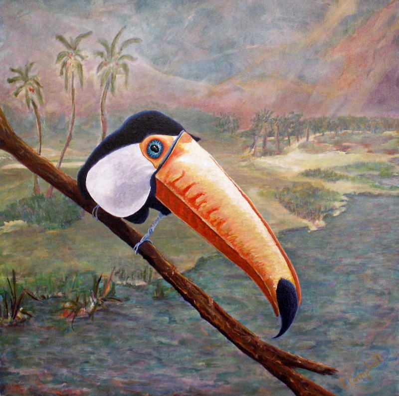 Toucans Painting - Toucan On A Limb by Trish Campbell