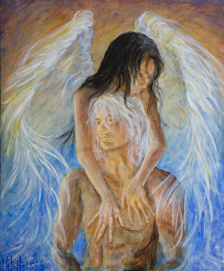 Angel Painting - Touch Of An Angel by Nik Helbig