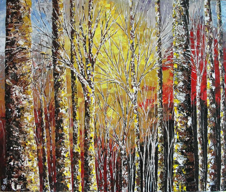 Birches Painting - Touch Of Gold by Shilpi Singh