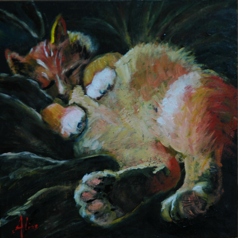 Cat Painting - Toughie by Aline Lotter
