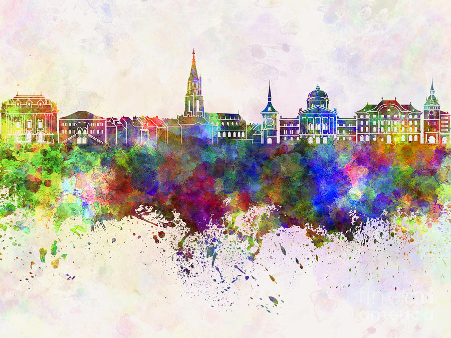Toulouse Skyline In Watercolor Background Painting