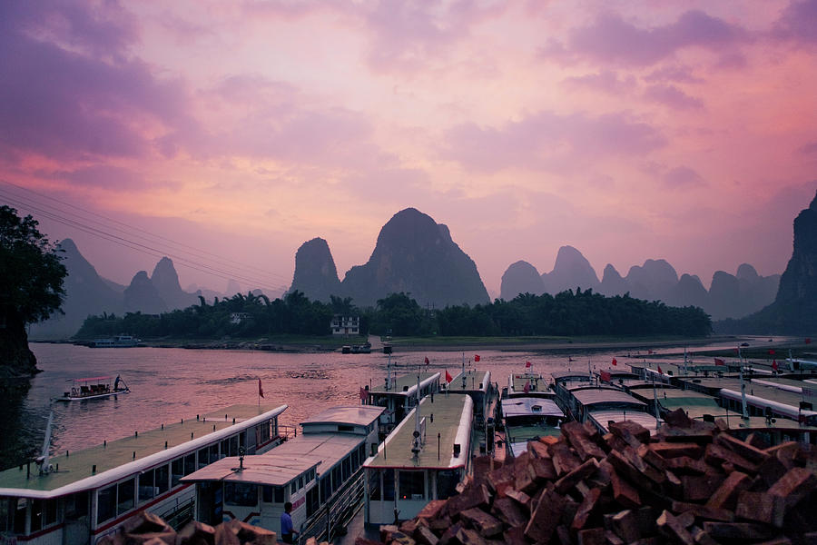Tourboat Harbour At Hexingzha Along The Photograph by Merten Snijders