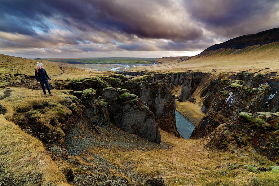 Tourist At Fjadrargljufur Canyon Photograph by Anna Gorin