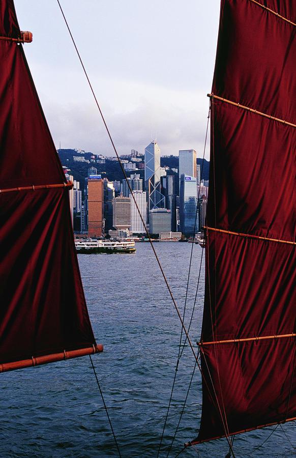 Tourist Boat Junk Sails Framing Photograph by Richard Ianson