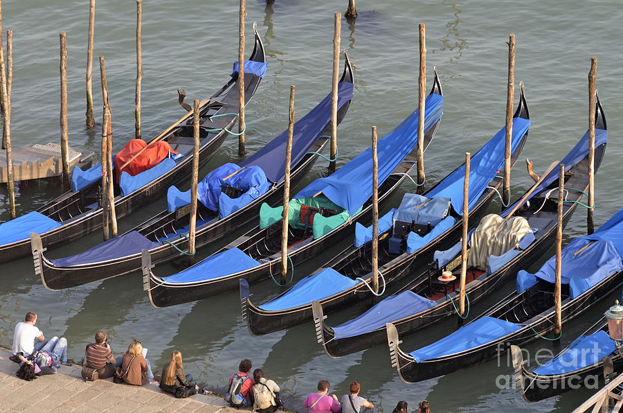 Blue Photograph - Tourists And Row Of Empty Moored Gondolas by Sami Sarkis