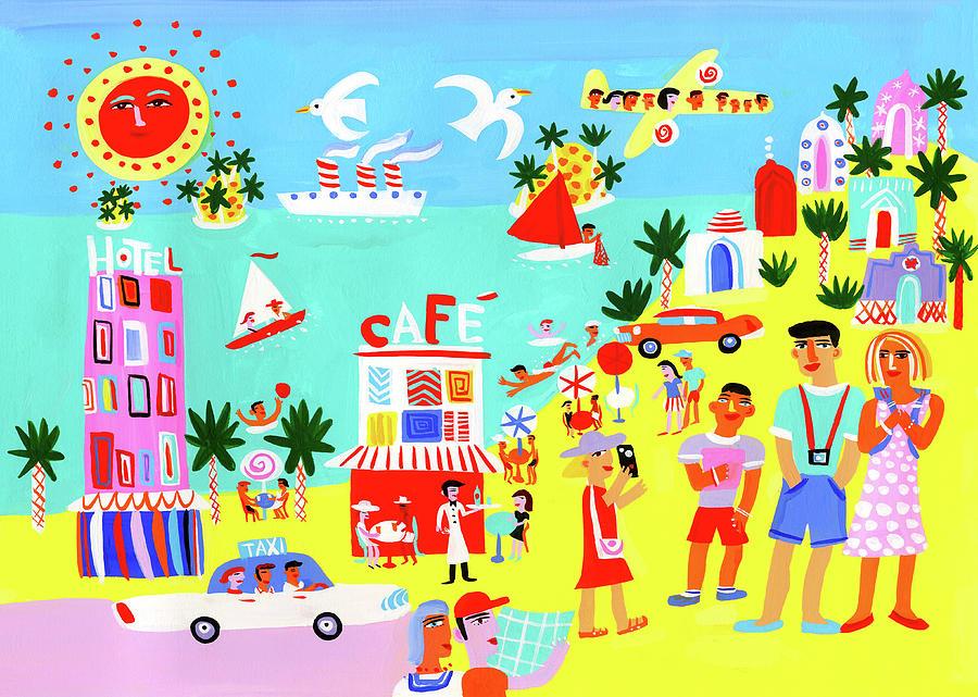 Child Digital Art - Tourists Enjoying Sightseeing On Summer by Christopher Corr