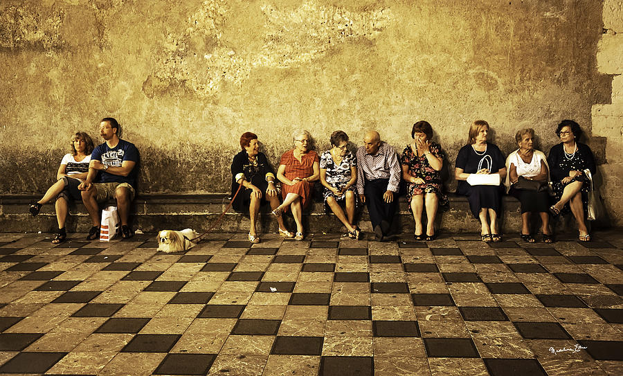 Tourists on Bench - Taormina - Sicily by Madeline Ellis