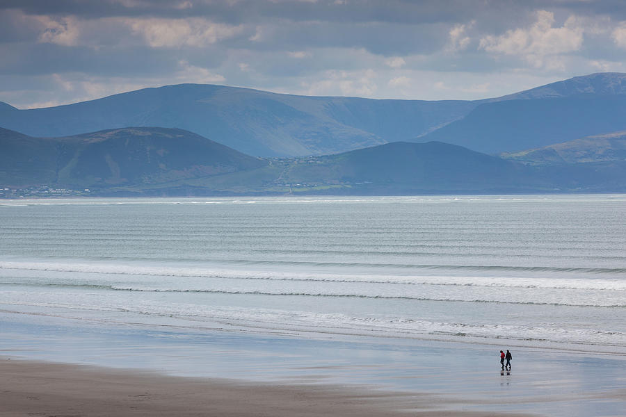 Horizontal Photograph - Tourists On The Beach, Inch Strand by Panoramic Images