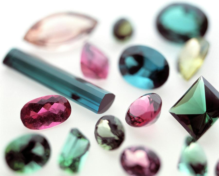Tourmalines Photograph - Tourmaline Gemstones by Lawrence Lawry/science Photo Library
