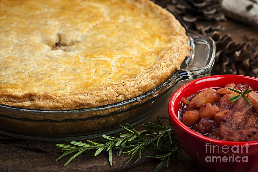 Meat Photograph - Tourtiere Meat Pie by Elena Elisseeva