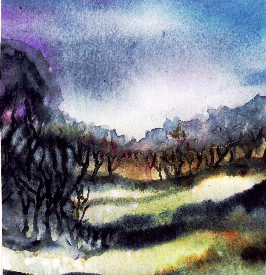 Bogland Painting - Towards The Misty Bogland  by Trudi Doyle