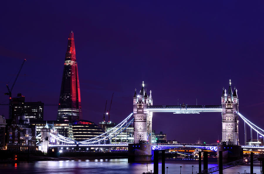 Tower Bridge And The Shard At Night Photograph by Dynasoar