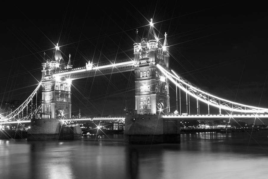 British Photograph - Tower Bridge By Night - Black And White by Melanie Viola