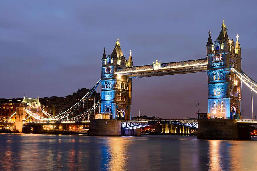London Photograph - Tower Bridge Illuminated For Je Suis Charlie by Ivelin Donchev