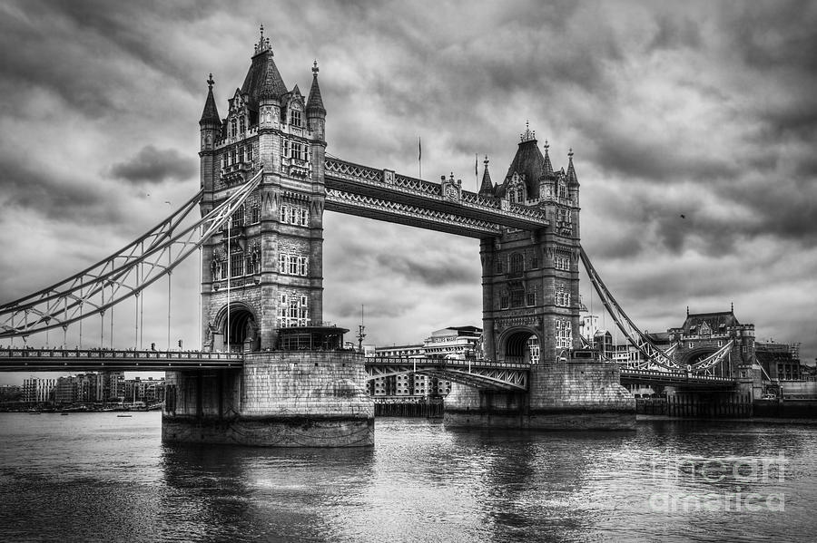 Tower Photograph - Tower Bridge In London Uk Black And White by Michal Bednarek
