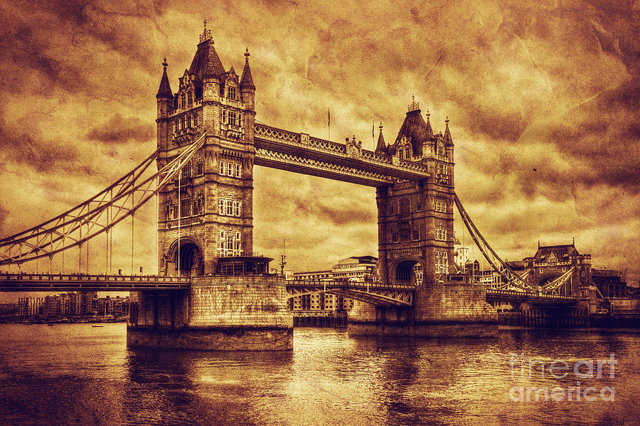 Tower Photograph - Tower Bridge In London Uk Vintage Style by Michal Bednarek