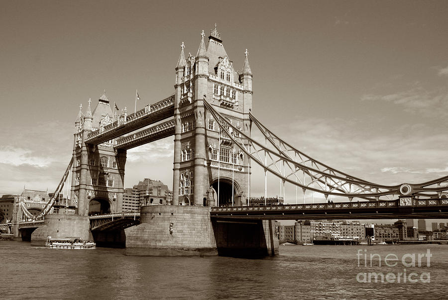 London Photograph - Tower Bridge - Sepia by Heidi Hermes